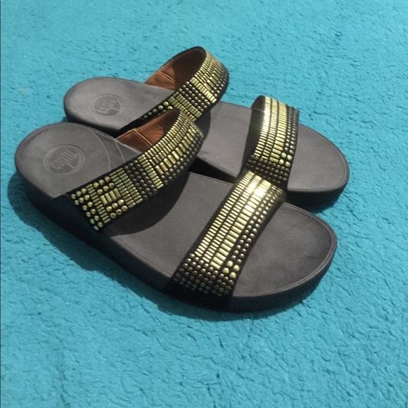 def63552444ca6 ✨FINAL✨Fit flop sandals gold accents size 9 new